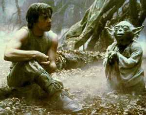 Luke Skywalker and Yoda on the planet Dagobah (no, I didn't take this photo ... in case you were wondering)