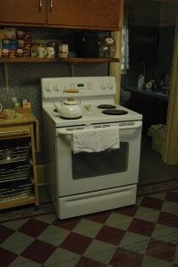 The kitchen stove at Safe Haven Farm