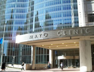 Front entrance of the Mayo Clinic, the Gonda Building, in Rochester, MN