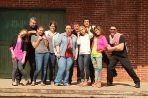 The cast/crew of our book cover photo shoot being goofy