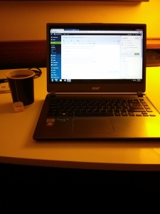 Hot tea and writing in my Chicago hotel room