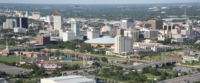 Downtown Skyline Aerial of Wichita, Kansas