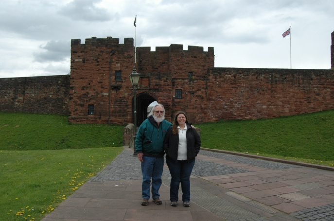 The Padre and Me outside Carlisle Castle