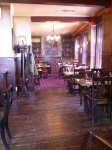The upstairs dining area of the pub across from the Borough Market