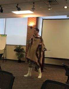 The amazing Jeff Gerke dressed as Luke Skywalker teaching at Realm Makers