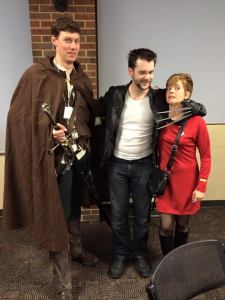 Realm Makers attendees dressed up as Strider, Wolverine, and a Star Trek RedShirt