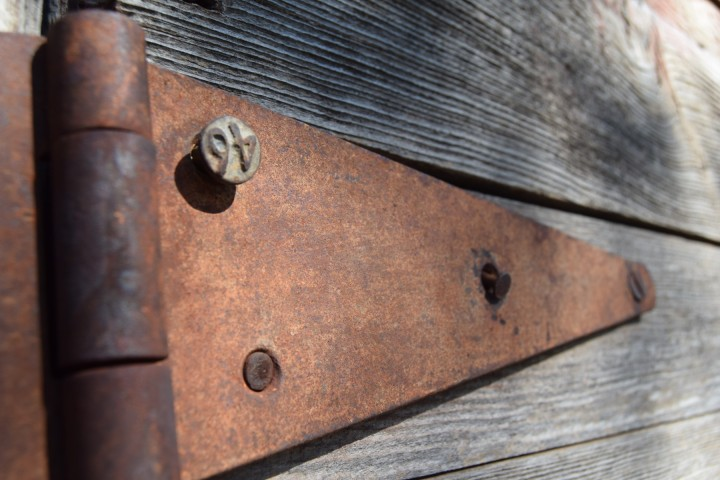 The old, rusted hinge on the chicken coop door at Safe Haven Farm, Haven, KS
