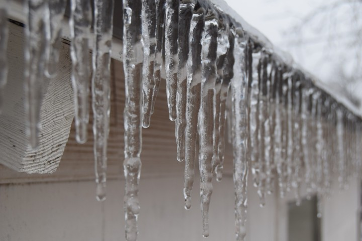 Icicles on the utility shed