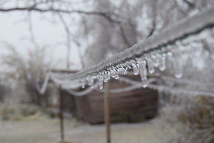 Icicles on the clothesline