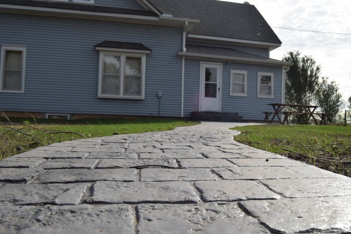 The new sidewalk up to the Big House at Safe Haven Farm