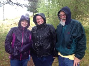 Katie, me, and Dad soaked from our Scottish hike